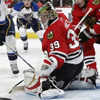 Cristobal Huet recorded his 22nd career shutout while the Blackhawks have not allowed a goal for over two games and a span of 141:21. (Getty Images)