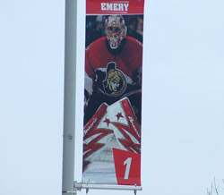 Ray Emery banner in Scotiabank parking lot