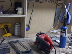 Work bench with tools for stick work