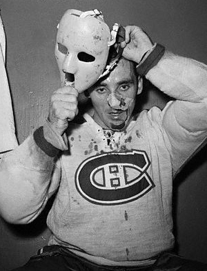 Jaques Plante with mask after injury
