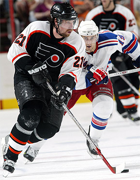 cac13686e Flyers center Peter Forsberg visited with a doctor on Tuesday afternoon