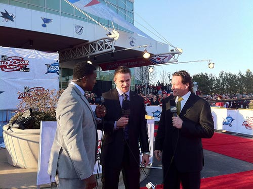 Grabner on the red carpted getting interviewed by Keven Weekes and Jeremy Roenick