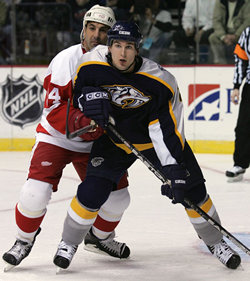 Scottie Upshall and Chris Chelios