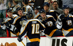 Martin Erat celebrates at the Nashville bench