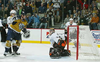 Jason Arnott watches Sullivan's game-winner beat Ilja Bryzgalov
