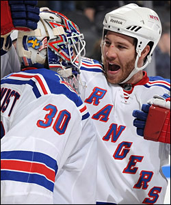 Henrik Lundqvist and Brandon Prust