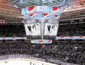 An artist rendering of the new scoreboard set for installation this summer.